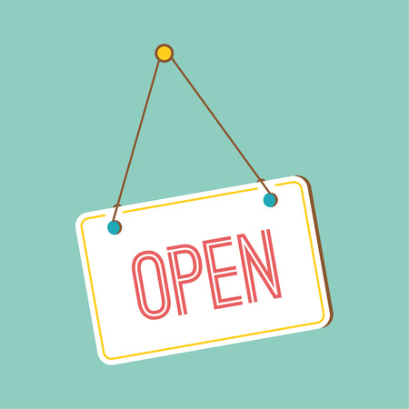 Open Sign. sign with information welcoming shop visitors. flat design Zdjęcie Seryjne - 34865954