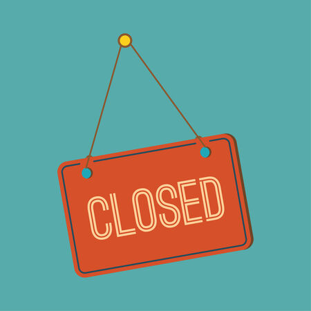 sorry: Closed Sign - Closed retail store red vector illustration symbol.  flat design Illustration