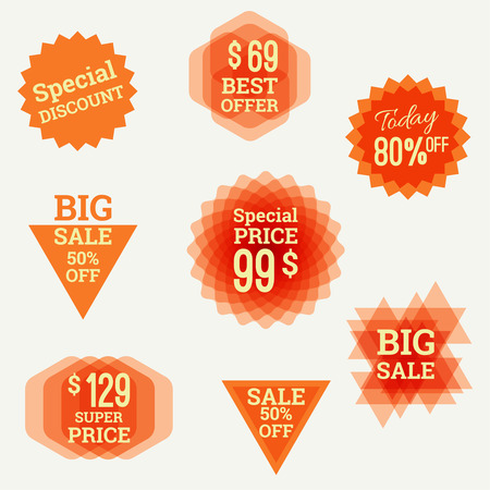 special occasion: Set tags with polygons, triangles, Crystal and labels. special discount, best offer, big sale, super price, 80 off.