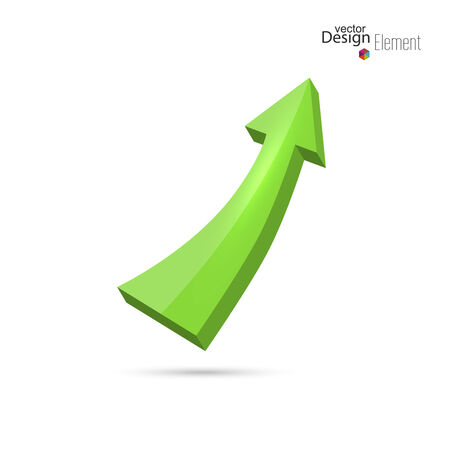 increment: 3D glossy green arrow directed up. growth and profits. icon