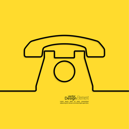 call center office: Abstract background with an old rotary telephone. Call technical support. Contacts.