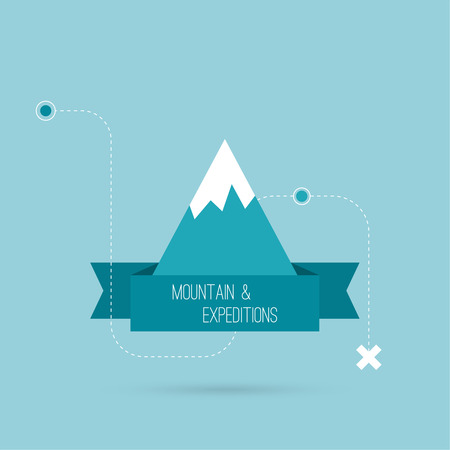 ice climbing: Mountains with ribbon for text and traffic schemes. Vector icon. Logo. Hiking, climbing, travel, expedition. Investigation of the Wild