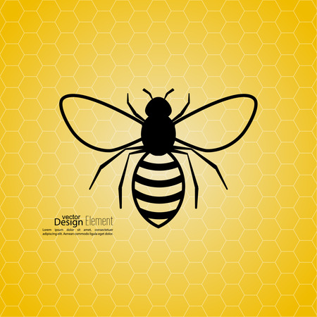 hives: Abstract yellow background with bee honeycombs. Symbol of flying insects. honey color. For food, medical, eco products Illustration