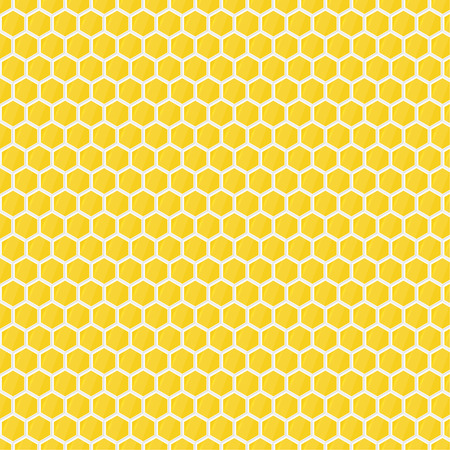 Seamless pattern of yellow glossy honeycombs. Hexagon. Geometric repeating vector. For packaging, fabric, wallpaper, backdrop, textiles
