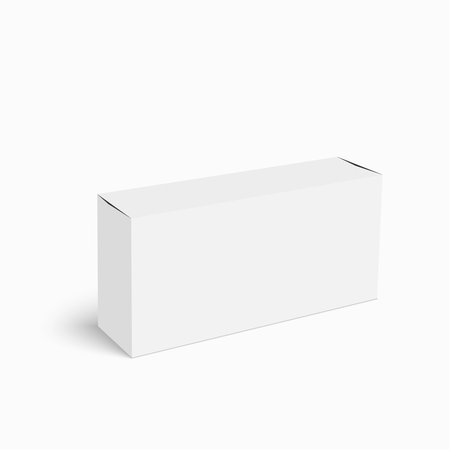 medicine box: Package white box on a white background. vector. Realistic 3d blank for perfume, Software, electronic device, tea box and other products.