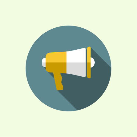 announcement icon: Megaphone, loudspeaker. for social media marketing concept. Notification through the speaker, advertisement bullhorn. Flat design with long shadow