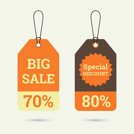 70 80: Set price tag with ribbons and labels. special discount and big sale 70, 80. banner
