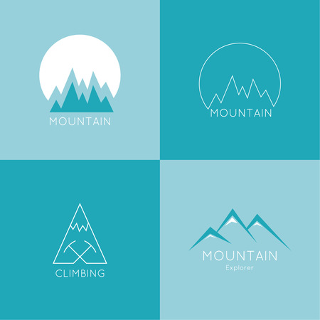 Set of vector icons of mountains. Hiking, climbing, travel, exploration. Investigation of the Wild  イラスト・ベクター素材