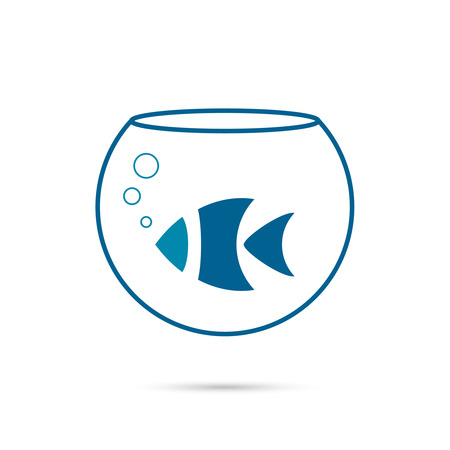 fish bowl: Creative element icon. fish in an aquarium Illustration