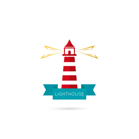 reliability: Vector icons lighthouse lighting the way with a ribbon. icon. The concept of reliability, care, guiding. Flat design. red, yellow, blue