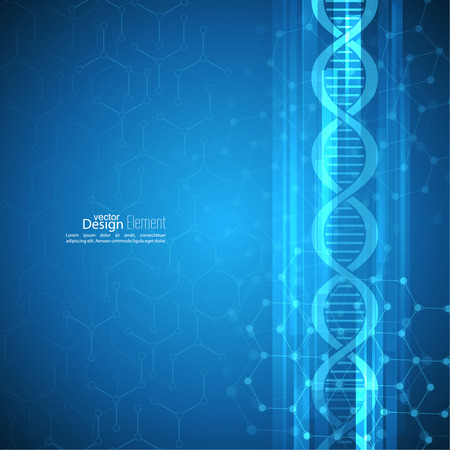 Abstract background with DNA strand molecule structure. genetic and chemical compounds