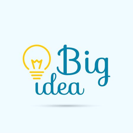 big: Bombilla de la idea. concepto de gran innovaci�n de ideas inspiraci�n, invenci�n, pensamiento efectivo. texto Vectores