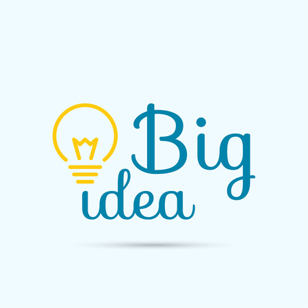 invention: Bulb light idea. concept of big ideas inspiration innovation, invention, effective thinking. text