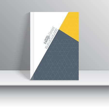 portadas de libros: La portada de revista con trozos de papel de colores, triángulos. Para el libro, folleto, folleto, cartel, folleto, folleto, diseño de portada de CD, tarjetas postales, tarjetas de visita, el informe anual. ilustración vectorial. resumen de antecedentes