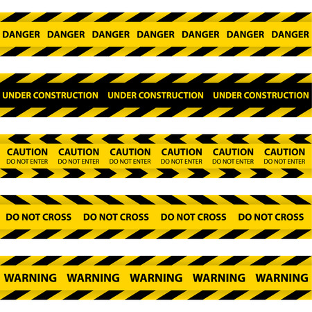 zone: Set of yellow Barrier Tapes, police tapes, Caution line and danger tapes. Do not cross. Illustration