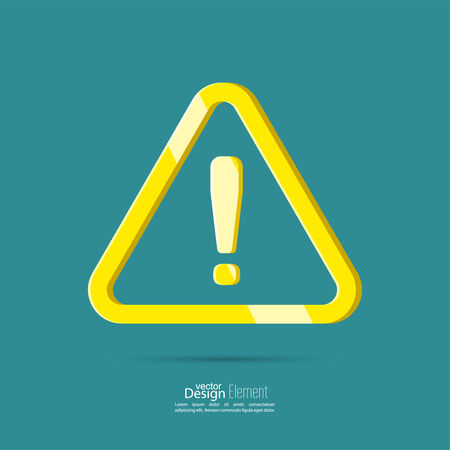 attention icon: Exclamation mark icon. Attention sign icon. Hazard warning yellow symbol  in blue background. vector. flat design