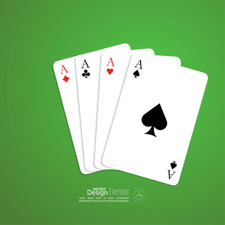 Four aces with shadow on a green background. Vector. Playing cards