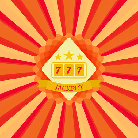 win money: Label with the stars, Slot machine,  jackpot and sevens on a bright sunburst background. Concept of winning, receiving the award. casino
