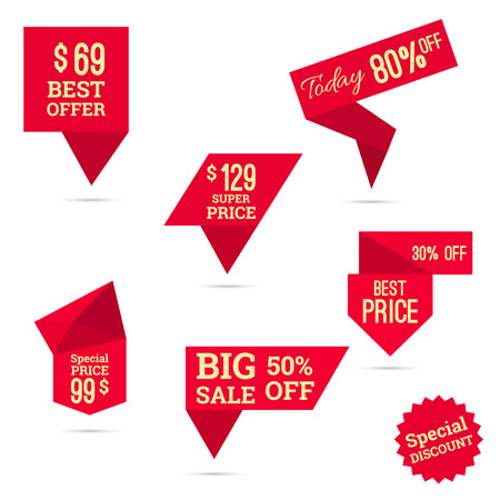 discount banner: Set tags with ribbons and labels. special offer, discount and percentages, price, big sale, best super price, banner