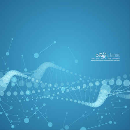 genetic information: Abstract background with DNA strand molecule structure. genetic and chemical compounds