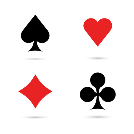 black suit: Card suit icons with shadow on white background. Vector. Playing cards