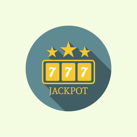 Label with the stars, Slot machine, jackpot and sevens. Vector icons on a long shadow. flat design. Concept of winning, receiving the award. casino