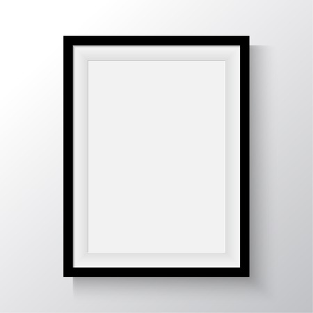 black picture frame: Black frame for paintings or photographs on the wall. A4, A3 Format paper design vector with space for text or ad.