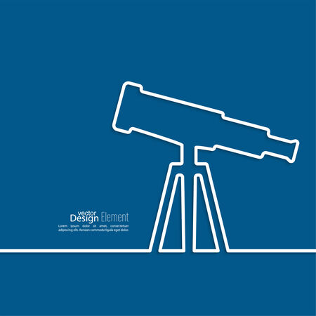ocular: Telescope standing on a tripod. outline. Concept study, research, observing celestial bodies, stars. astronomy