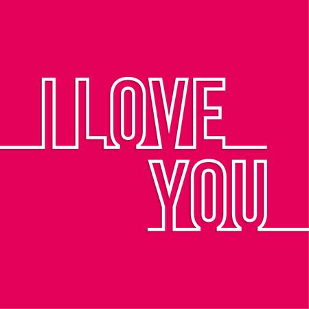 declaration of love: Lettering. I love you. outline with shadow. declaration of love. red, white