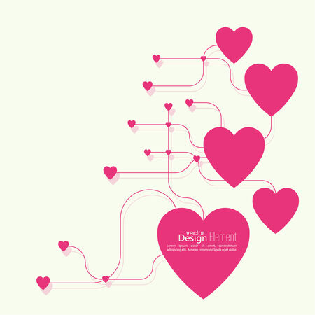 14 february: Heart with links. The concept of social connections, help charity, network of health facilities. volunteer assistance. Card for Valentines Day. symbol donate