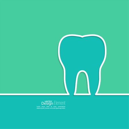 carious cavity: Background with tooth outline. Symbol for dental clinic. blue, green. emblem dentist