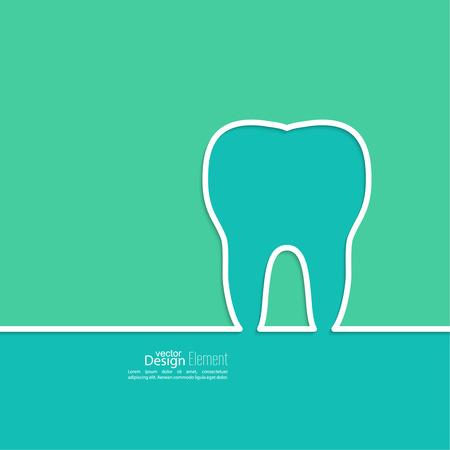 dentista: Fondo con el contorno del diente. S�mbolo para la cl�nica dental. azul, verde. dentista emblema Vectores