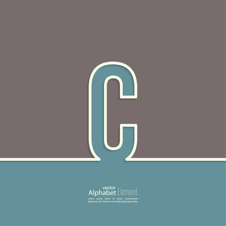 c design: The letter C of the alphabet. abstract background. Outline.