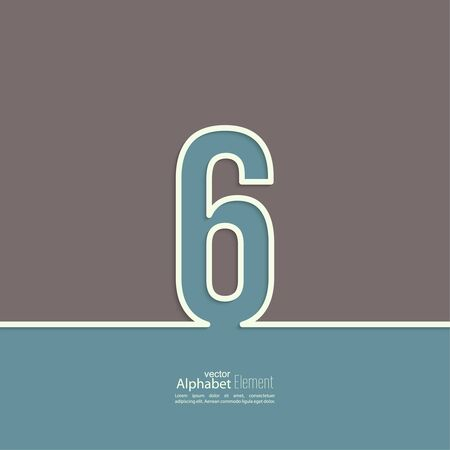 The number 6. six. abstract background. Outline.