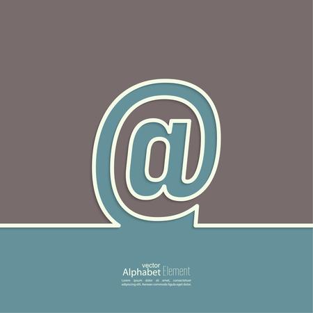 arroba: Arroba symbol. At sign outline. abstract background. Outline. Illustration