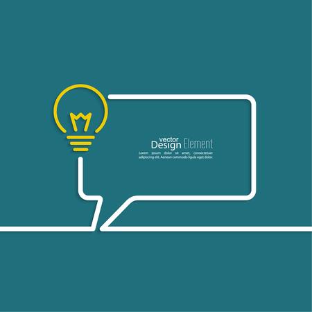 pensando: Bombilla de la idea. concepto de gran innovaci�n de ideas inspiraci�n, invenci�n, pensamiento efectivo. texto. Burbujas del discurso y el s�mbolo de Chat. Esquema. Vectores