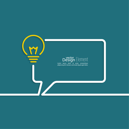 inspiration: Bulb light idea. concept of big ideas inspiration innovation, invention, effective thinking. text. Speech Bubbles and Chat symbol. Outline. Illustration