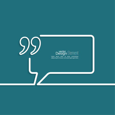 Quotation Mark Speech Bubble  and Chat symbol. Outline. Illustration