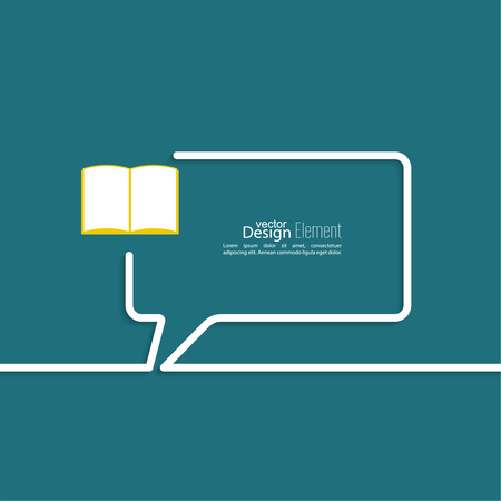 folio: Open book with space for saying, quotes, excerpts. Chat symbol. Outline.