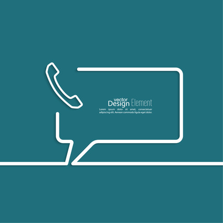 Speech Bubbles with handset and Chat symbol. Outline. Call technical support. Contacts. Illustration