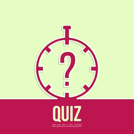 questionail: Timer with a question. Quiz. The concept is the question the answer. Outline. Illustration