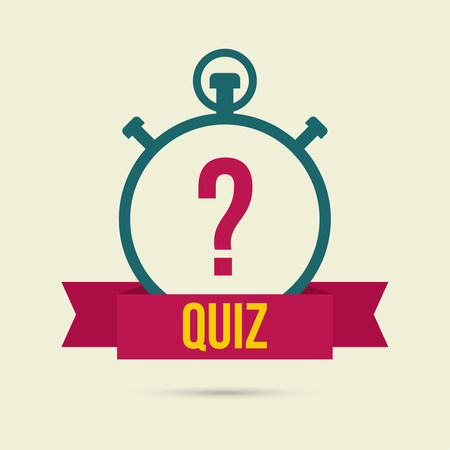questionail: Timer with a question. Quiz. The concept is the question the answer. Icon with ribbon for mobile applications