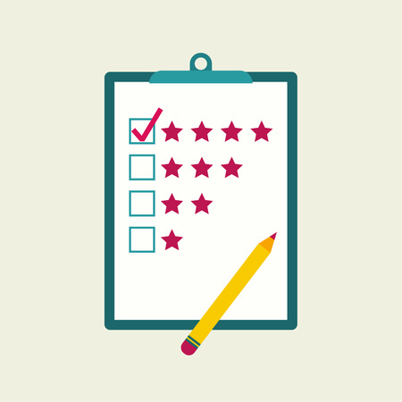 satisfied customer: Tablet paper to the rating of the stars and pencil. The concept of evaluation and feedback Illustration