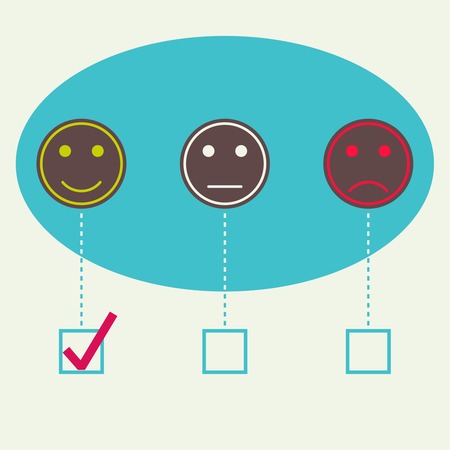 satisfactory: Emotional smiles. Positive, negative, neutral. The concept of evaluation and feedback