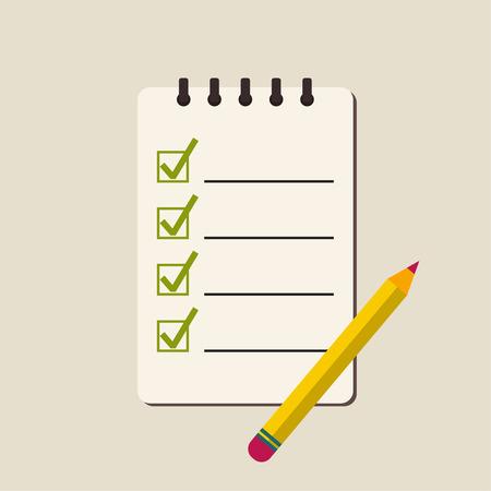 hacer: libreta espiral con para hacer la lista y un lápiz. Las líneas con casillas de verificación. lista de verificación para la nota. consentimiento. marca de verificación. elección y voting.flat diseño