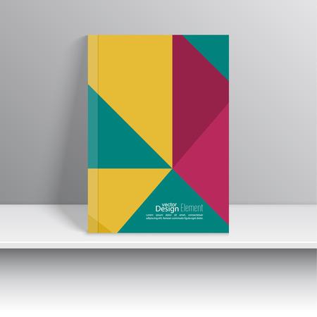 marca libros: La portada de revista con franjas de colores, triángulo. Para el libro, folleto, folleto, cartel, folleto, folleto, diseño de portada de CD, tarjetas postales, tarjetas de visita, el informe anual. ilustración vectorial. verde, amarillo, rojo Vectores