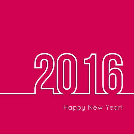 year greetings: creative happy new year 2016 design. Flat design. Outline