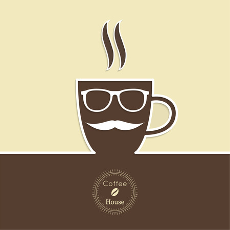 coffeehouse: Abstract background with a cup of coffee, with a mustache and glasses and text Coffee house. for menu, restaurant, cafe, bar, coffeehouse.  Outline Illustration