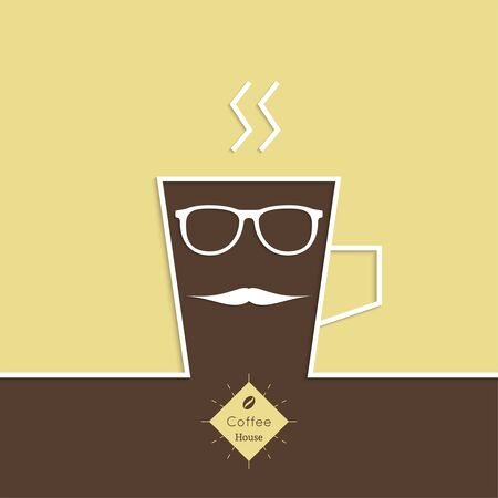 coffeehouse: Abstract background with a cup of coffee, with a mustache and sun glasses and text Coffee house. for menu, restaurant, cafe, bar, coffeehouse.  Outline