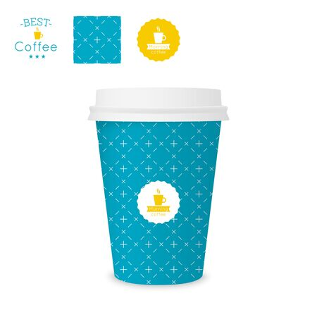 Closed paper cup for coffee with texture. Sample seamless pattern coffee badge. Mock up Vector